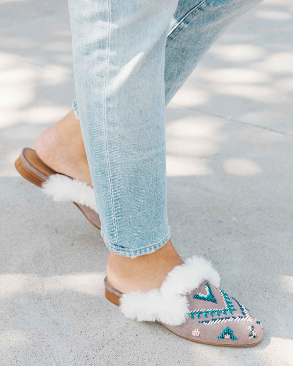 Sedona Faux Fur Beaded Mule image