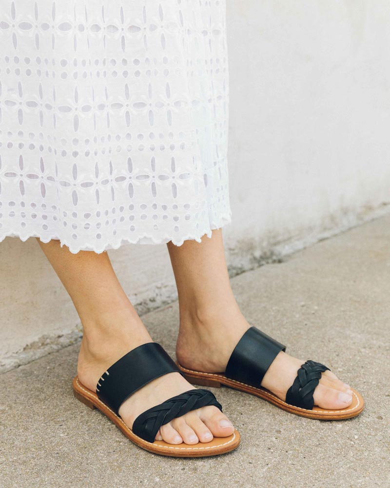 70940834d5c4 ... sandal features a closed nubuck braid in front and a malleable flat  strap with tab stitches. Smooth vachetta leather lines the footbed because
