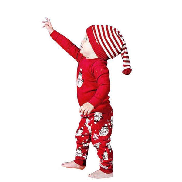Cute Snowman Print Red Cotton Pullover and Pants for Baby