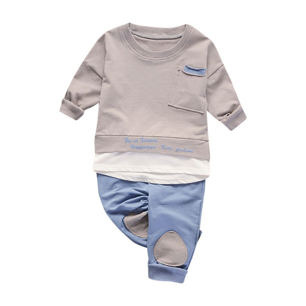 Adorable 2-piece Long Sleeves Tee and Pants for Baby Boy | FREE SHIPPING