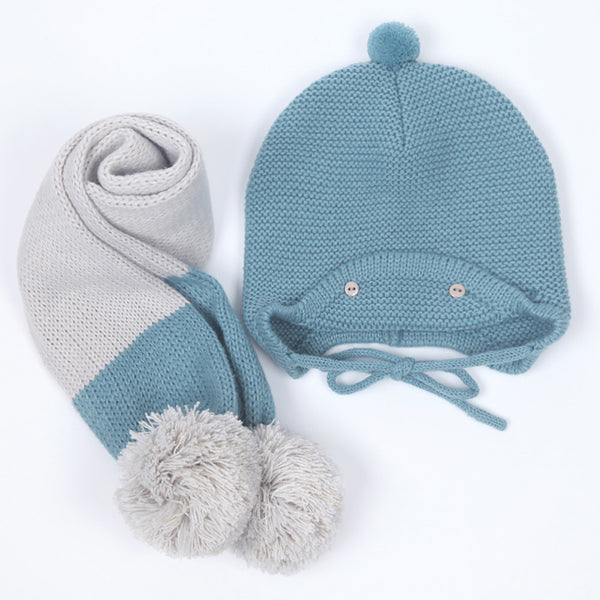 Adorable pom pom hat & scarf for both boys and girls | Free Shipping