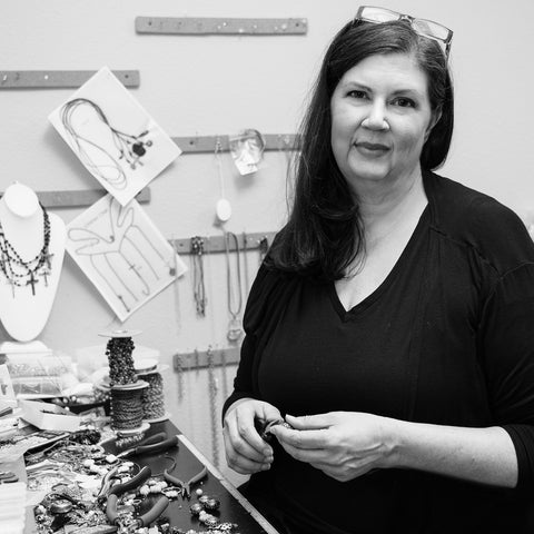 Juli of Julio Designs, a jewelry company based in Frisco, Texas