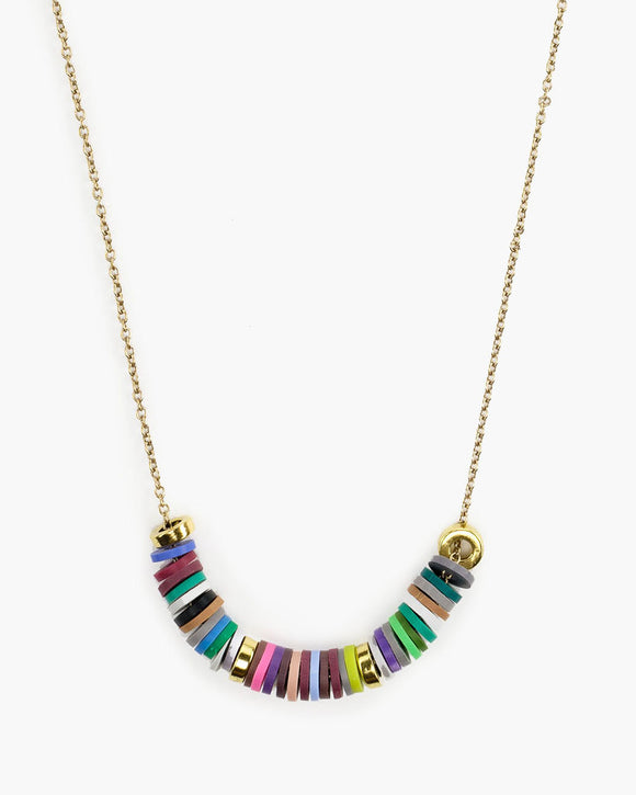 Alpha Bits Vinyl Disk Necklace,  multi color, Julio Designs, Frisco, TX