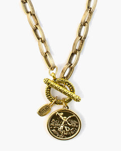 Answer Toggle Front Coin Necklace, A single 14k gold plated winged victory coin, Julio Designs, Frisco, TX