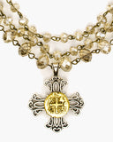 Apricot Triple Strand Pendant Necklace, 2-Tone layered cross pendant with Czech crystal linkage,  Julio Designs, Frisco, TX