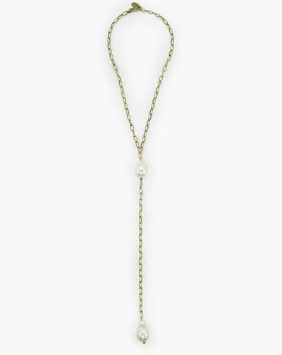 Julio Designs Gold Paper Clip Chain Necklace With Fresh Water Pearls A Casual Statement Necklace For Everyday Wear