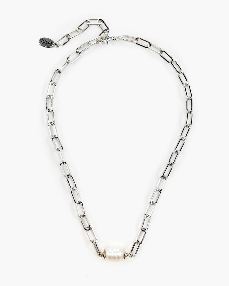 Bella Focal Bead Paperclip Chain Necklace