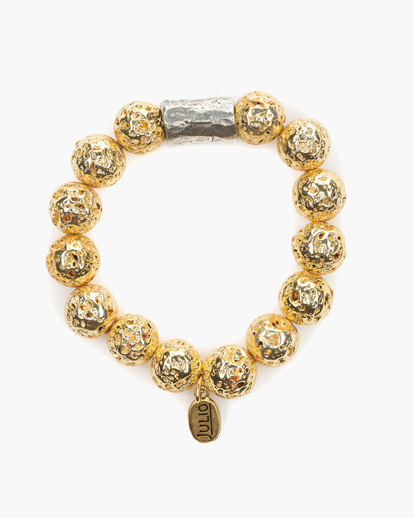 Belmont Metallic Stretch Bracelet,  Electroplated lava rock beads, gold, Julio Designs, Frisco, TX
