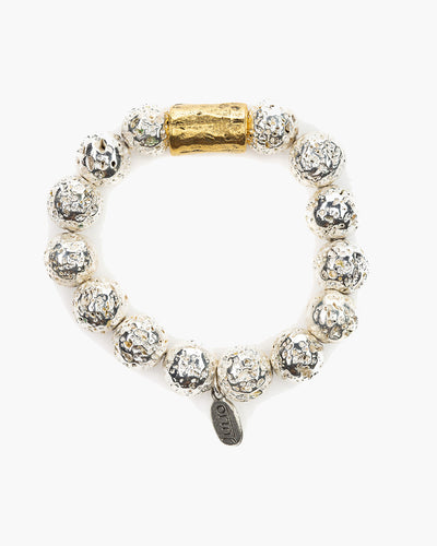 Belmont Metallic Stretch Bracelet, Electroplated lava rock beads are accented with a hammered barrel bead, silver,  Julio Designs, Frisco, TX