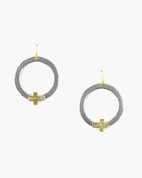 Small Cross Hoop Earring (ER147)