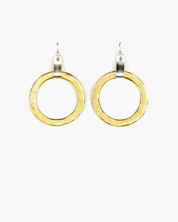 ER241 Tab Top Medium Hoop Earring