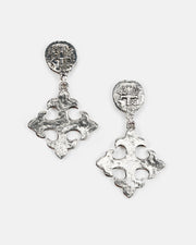 Coin Cross and Maltese Cross Post Top Earring (ER349)