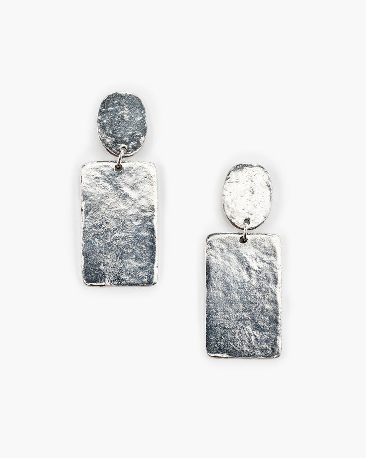 Hammered Rectangle Post Top Earring (ER410)