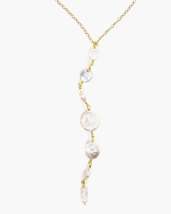 Eggnog Freshwater Pearl Y Necklace