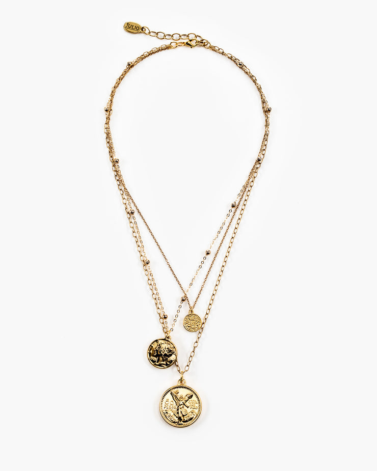 Eleanor Triple Coin Pendant Necklace