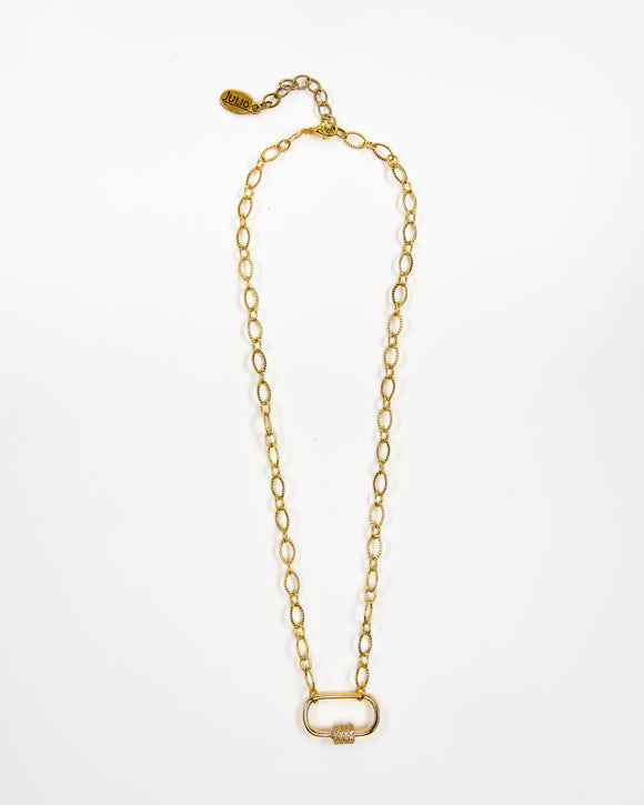 Golden Grahams Delicate Carabiner Necklace