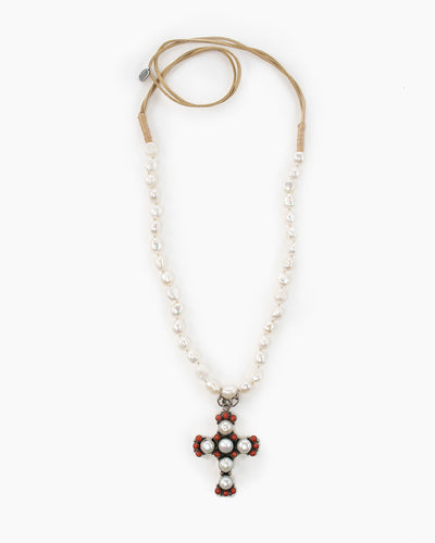 The Kennedy freshwater long pearl necklace with cross pendant from Julio Designs is Handmade in Frisco, Texas