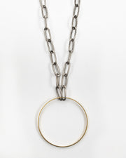 Kit Kat Paperclip Chain Circle Necklace