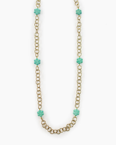Our favorite Pierrot Long Gold Chain and Accent Bead Necklace from Julio Designs is Handmade in Frisco, Texas