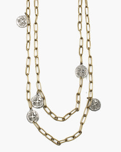 Marjoram Long Paper Clip Chain Coin Necklace