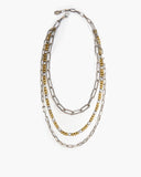 Mondrian Triple Strand Paperclip Chain Necklace