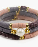 Fruit Stripe Vinyl Disk Bracelet Set