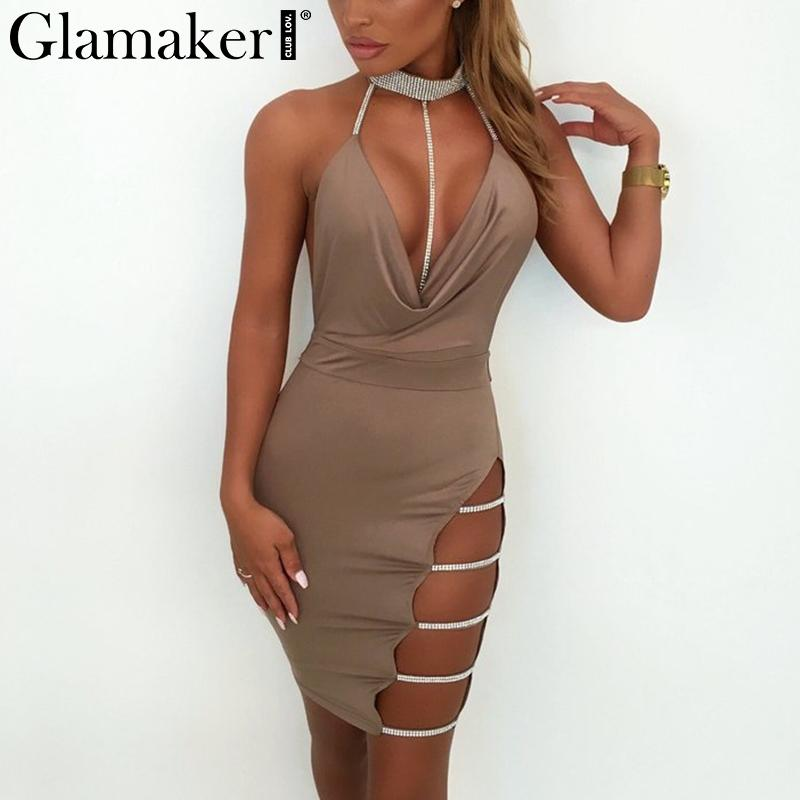 Hot chaîne de forage sexy femmes robe Side split profond v cou robe de soirée robeos Backless club party dress new year