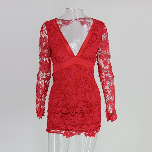 Santune Pink Red Black Deep V Neck Long Sleeve Sexy Mini Women Dress Summer Bodycon Dress Lady Backless Floral Lace Dresses