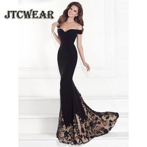 JTCWEAR Strapless Off Shoulder Evening-Party Floor Dress Short Sleeve Sexy Maxi Black Dress Mermaid Full Length Party Dress 645