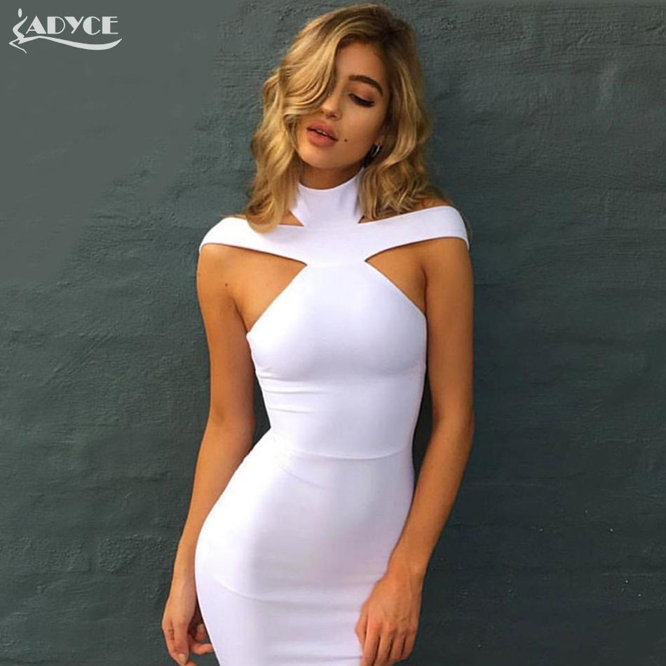 Nouveau Bandage Dress  Celebrity Soirée Robe Vestidos Sexy Off The Shoulder Halter Blanc kaki noir Club