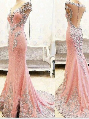 Luxury Evening Dresses Long Beaded Pink Mermaid Evening Dress Gowns Vestidos De Noiva Floor Length Mermaid Evening Formal Dress