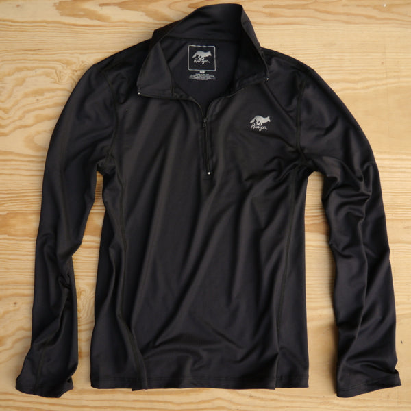 Runyon Men's Black Performance Quarter Zip-Up made in usa fitness wear running hiking yoga outdoors runyon canyon apparel