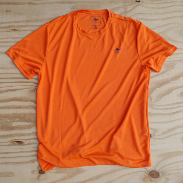 Runyon Men's Orange Performance Trail Shirt made in usa fitness wear running hiking yoga outdoors runyon canyon apparel