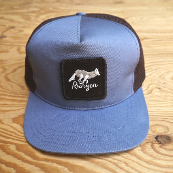 Runyon Blue Pacific Woods Flat Bill Trucker made in usa fitness wear running hiking yoga outdoors runyon canyon apparel
