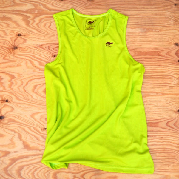 Runyon Men's Bright Lime Performance Power Tank made in usa fitness wear running hiking yoga outdoors runyon canyon apparel
