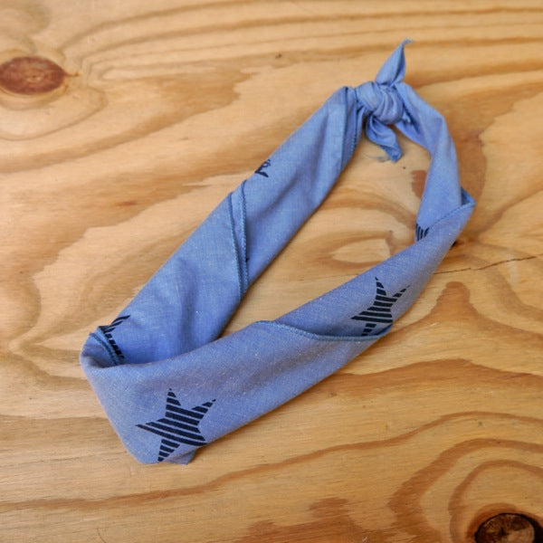 Runyon Denim Striped Star Bandana made in usa fitness wear running hiking yoga outdoors runyon canyon apparel