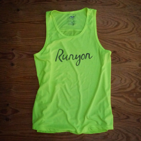 Runyon Men's Neon Script Ultra Mesh Running Tank made in usa fitness wear running hiking yoga outdoors runyon canyon apparel