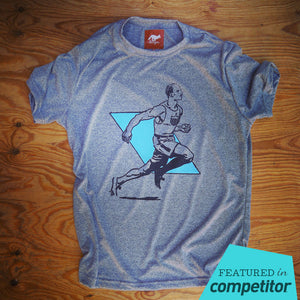 Runyon Men's Vintage 1932 Olympic Running Man Performance Shirt made in usa fitness wear running hiking yoga outdoors runyon canyon apparel