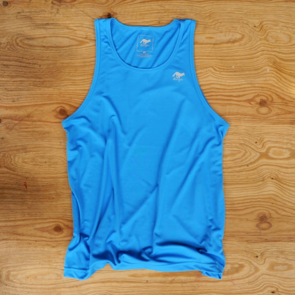 Runyon Men's Amazing Blue Training Singlet made in usa fitness wear running hiking yoga outdoors runyon canyon apparel
