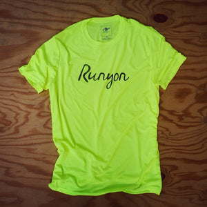 Runyon Men's Neon Script Fitness Shirt made in usa fitness wear running hiking yoga outdoors runyon canyon apparel