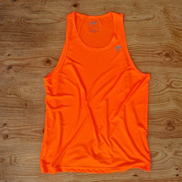 Runyon Men's Neon Orange Training Singlet made in usa fitness wear running hiking yoga outdoors runyon canyon apparel