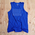 Runyon Men's 1984 Royal Blue Striped Star Performance Tank made in usa fitness wear running hiking yoga outdoors runyon canyon apparel