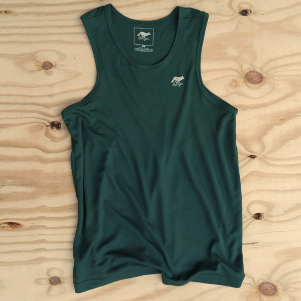 Runyon Men's Forest Green Performance Power Tank made in usa fitness wear running hiking yoga outdoors runyon canyon apparel