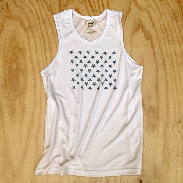 Runyon Men's 1984 White Striped Star Performance Tank made in usa fitness wear running hiking yoga outdoors runyon canyon apparel