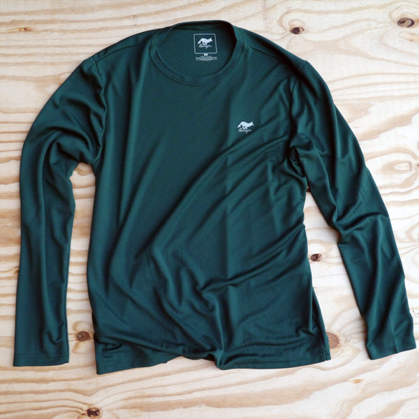 Runyon Men's Forest Green Long Performance Trail Shirt made in usa fitness wear running hiking yoga outdoors runyon canyon apparel