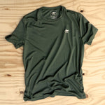 Runyon Men's Earthy Green Performance Trail Shirt made in usa fitness wear running hiking yoga outdoors runyon canyon apparel