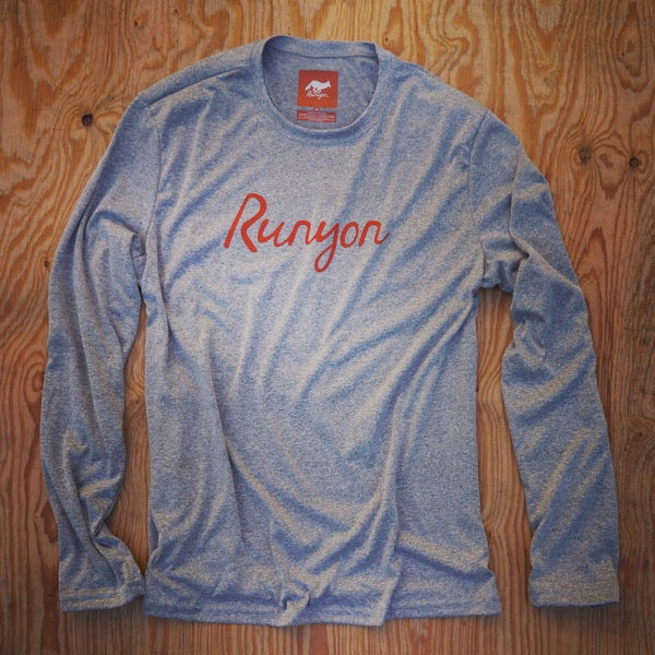 Runyon Men's Signature Orange Script Long Sleeve Script Performance Fitness Shirt made in usa fitness wear running hiking yoga outdoors runyon canyon apparel