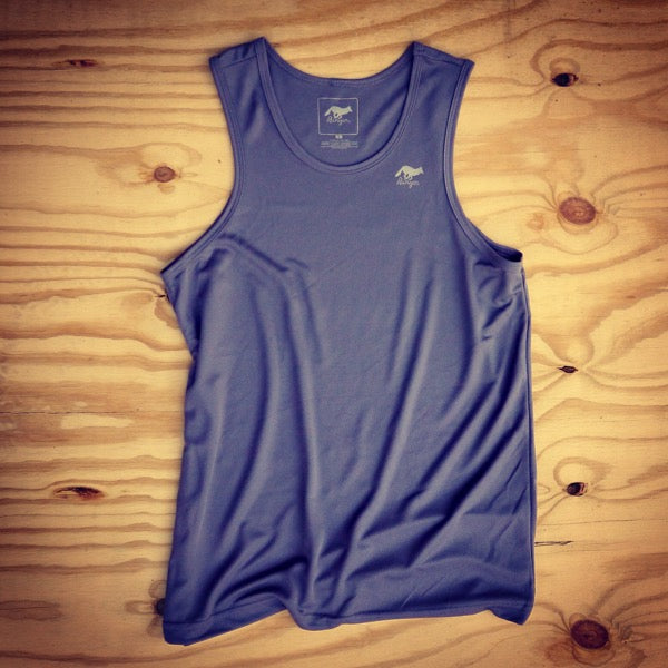 Runyon Men's Steel Grey Performance Power Tank made in usa fitness wear running hiking yoga outdoors runyon canyon apparel