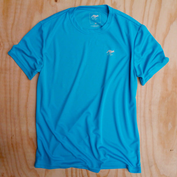 Runyon Men's Turquoise Performance Trail Shirt made in usa fitness wear running hiking yoga outdoors runyon canyon apparel