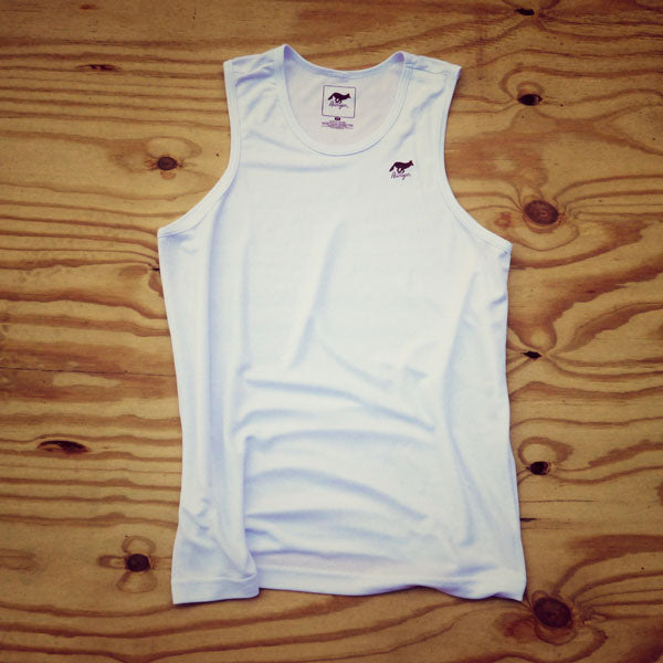 Runyon Men's White Power Performance Tank made in usa fitness wear running hiking yoga outdoors runyon canyon apparel